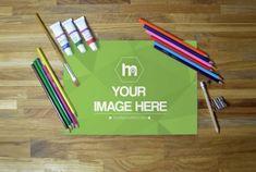 Artistic Drawing on Wood Desk Mockup | ShareTemplates