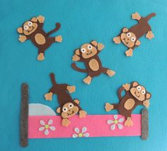 Five Little Monkeys Flannel Board Story Felt Set - Preschool Kindergarten Math Rhyme Cute