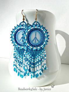 Blue Peace Earrings by Beadwork4Sale on Etsy