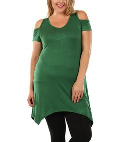 ~~pinned from site directly~~ . . . Look what I found on #zulily! Hunter Green Off-Shoulder Tunic - Plus #zulilyfinds