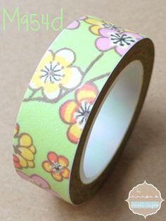 Washi Tape verde con flores