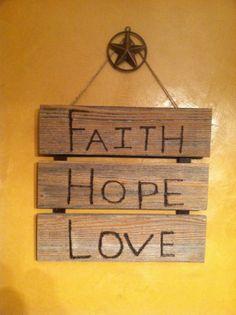 burned wood sign Faith Hope and Love by FaithinGodRanchshop, $30.00