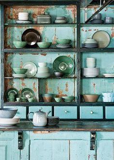 Blue green cabinet