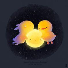 """littleoil: """" Hug The Moon Happy Mid-Autumn Festival """""""