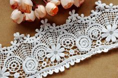 Off White Cotton Floral Lace Lace 3.14 Inches Wide 1 by Lacebeauty, $5.99