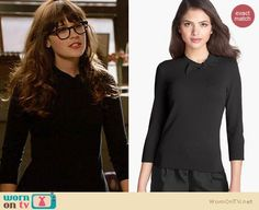 Jess's black sweater and pink skirt on New Girl. Outfit Details: https://wornontv.net/21971/ #NewGirl