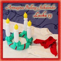 Artmagines Ballong-Julkalender Lucka 13: Den finaste lucian är den med en luciakrona av ballonger. Vi gör en ny ballong-kreation varje dag fram till jul!