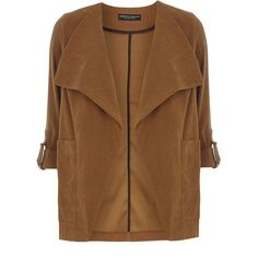 Dorothy Perkins Tan Suedette Jacket (€49) ❤ liked on Polyvore featuring outerwear, jackets, brown, dorothy perkins, brown jacket, waterfall jacket and tan jacket