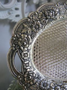 Vintage Silver Tray by Vintage French Roses Sterling silver & Silverplate