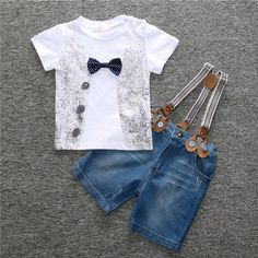Cute Summer Boys Blue Jeans+Braces+ Bowknot T-shirts Clothing Sets //Price: $17.99 & FREE Shipping //     #discount
