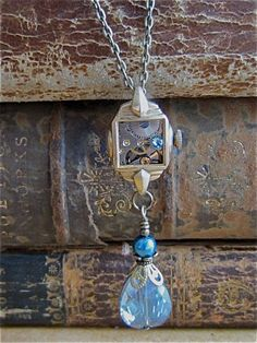 Steampunk necklace - Aqua Marine