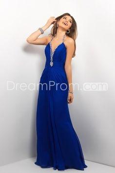 Cheap 2013 A Line Floor Length V-neck Chiffon Prom Dresses CH800166