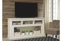 Ashley Becklyn Chipped White XL TV Stand w/Fireplace Option Entertainment Center Decor, Home Entertainment, Fireplace Tv Stand, Furniture Market, Diy Furniture, Love Your Home, Vintage Tv, Home Trends, Layout