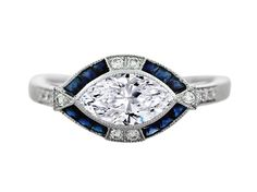 Horizontal Marquise Diamond Art Deco Engagement Ring in 14K White Gold.... Oh DAMN!!