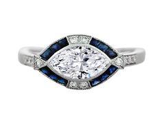 Horizontal Marquise Diamond Art Deco Engagement Ring in 14K White Gold