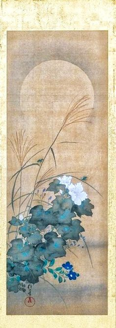 Sakai Hoitsu. Moon and Autumn Flowers and Grasses. Japanese painting. Panel from folding screen? Edo period