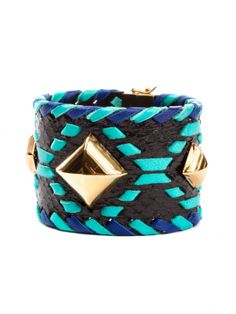 Black/Turquoise Python Leather Cuff by Elena Meyer - ShopKitson.com
