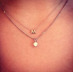 One initial 18 k yellow gold handmade Minitials necklace <3