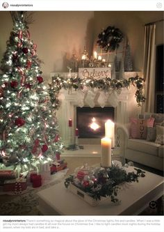 - Happy Christmas - Noel 2020 ideas-Happy New Year-Christmas Christmas Mantels, Noel Christmas, Country Christmas, Christmas Tree And Fireplace, Outdoor Christmas, Christmas Tree Decorations, Holiday Decor, Christmas Interiors, Christmas Living Room Decor