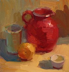 Red Pitcher by Kathryn Townsend Oil ~ 10 x 10