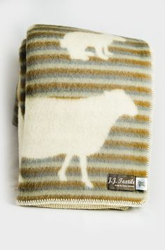 Wool Blanket (Beige with Sheep and Rabbit)