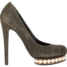 Nicholas Kirkwood Women's Pearl-Embellished Casati Platform Pumps-Colo ($419) ❤ liked on Polyvore featuring shoes, pumps, colorless, slip-on shoes, clear platform shoes, round toe platform pumps, clear pumps and high heel pumps