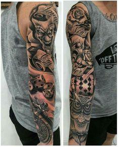 Laugh now cry leter Full Arm Tattoos, Arm Tattoos For Guys, Forearm Tattoos, Black Tattoos, Viking Tattoo Sleeve, Skull Sleeve Tattoos, Poker Tattoo, Realistic Flower Tattoo, Clown Tattoo