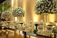 Flores brancas e espelhos - Amarelo Ouro