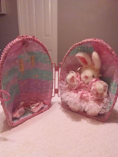 Wicker Egg Suprise- Open it and find your Bunny in her house- Original Collectable by AllAboutExcellence on Etsy