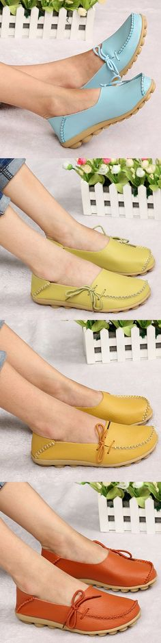 US$16.56 Big Size Pu Pure Color Soft Sole Breathable Casual Lace Up Flat Shoes For Women