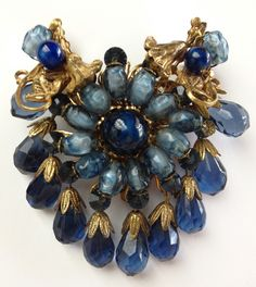 Vintage Signed Miriam Haskell Brooch Pin Large Stunning Blue Glass Beads | eBay