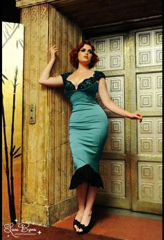 Isabelle Dress in Porcelain Turquoise Satin with Black Lace