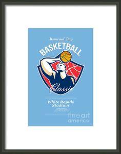 Basketball Player Rebounding Ball Retro Framed Print By Aloysius Patrimonio