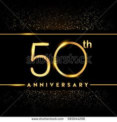 fifty years anniversary celebration logotype. 50th anniversary logo with confetti golden colored isolated on black background, vector design for greeting card and invitation card