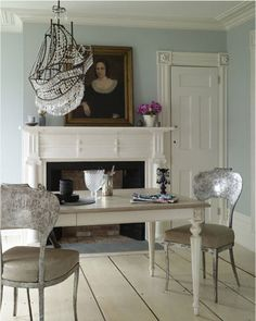 LUSTER INTERIORS: Alessandra Branca.  Those chairs and chandelier are exquisite.  A beautiful room.