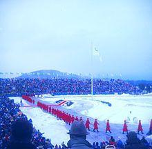 1980-Jeux Olympiques d'Hiver à  à Lake Placid aux États-Unis du 13 au 24 février 1980. Cérémonie d'ouverture.