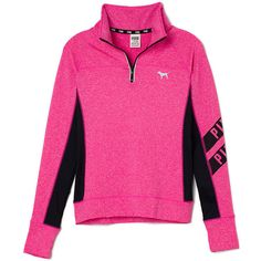 Victoria's Secret Ultimate Half-Zip,print ($55) ❤ liked on Polyvore featuring tops, jackets, pink, vs and closet