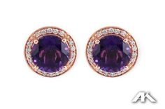 Amethyst and Diamond Earrings in 14K Rose Gold