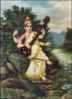 Goddess Sarasvati by Raja Ravi Varma (1848–1906) via Wikipedia.