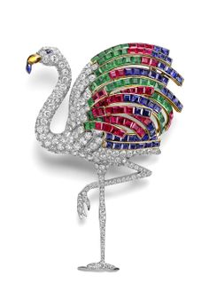 Diamond Flamingo Clip made for Wallace Simpson, Duchess of Windsor, by Cartier in the 1940s.
