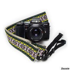 Green Psychedelic Handmade Camera Strap w/ Webbing,made by Feedback Straps