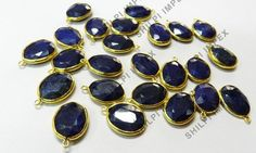 5Pc! Dyed Sapphire Corundum 925 Sterling Silver Wholesale Lot Connectors Charms #Shining_Gems #Connectors #Jewelry #gemstone