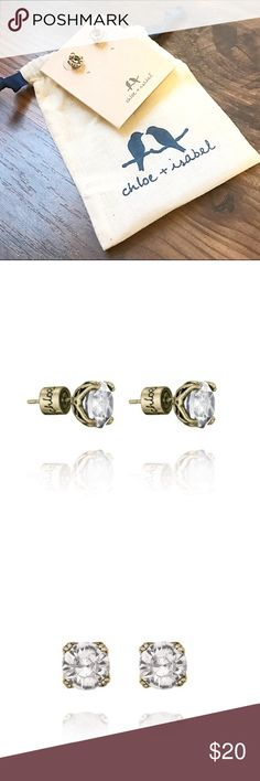"C+I Crystal Stud Earrings Pair of beautiful crystal stud earrings from Chloe and Isabel. Brand new with tags and dust bag. ⚡️Price firm unless bundled⚡️  antique brass-plated nickel-free plating make them hypoallergenic  .25"" approx. width stainless steel post clear crystal Chloe + Isabel Jewelry Earrings"