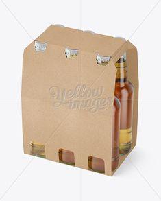 Kraft Paper 6 Pack Beer Bottle Carrier Mockup – Halfside View (High-Angle Shot)