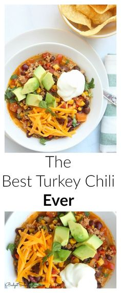 The Best Turkey Chili Ever Print : Sara Ingredients 3 Tablespoons of Olive Oil 2 Garlic Cloves, Minced 1 pound of Ground Turkey 1 red bell pepper, chopped 5 Tablespoons of Chili Powder 2 Teaspoons Chili Recipes, Crockpot Recipes, Cooking Recipes, Healthy Recipes, Cooking Chili, Healthy Meals, Easy Recipes, Cooking Lamb, Avocado Recipes