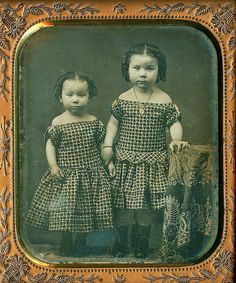 Adorable Girls, Gaudin 1/6th-Plate Daguerreotype by N. G. Johnson, Meadville, Pa, Jan. 24, 1856