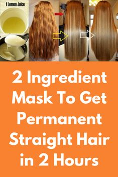 2 Ingredient Mask To Get Permanent Straight Hair in 2 Hours 2 Ingredient Mask To Get Permanent Straight Hair in 2 Hours Ingredients coconut oil Cup) juice of 1 lemon (about 4 tablespoons) cornstarch tablespoons) olive oil tablespoons) Method of p Hair Mask For Damaged Hair, Diy Hair Mask, Silky Hair, Smooth Hair, Thick Frizzy Hair, Natural Straight Hair, Natural Hair Styles, Straight Hair Tips, Straight Hair Problems