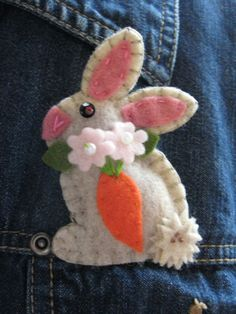 Wool felt Brooch an Easter Bunny Rabbit made in by BlondiesSpot