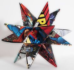 Superman, Recycled Comic Book Desk Star, Superman Home Decor, Red White and Blue Star