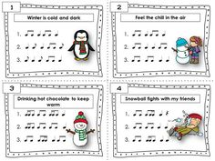 WINTER Rhythm Task Cards Included in this product is. ♫ 24 Task Cards ♫ Student Record Sheet ♫ Answer Key *** Sixteenth notes / semiquavers are included in most rhythms! Preschool Music, Music Activities, Music Lessons, Piano Lessons, Music Beats, Music Worksheets, Thing 1, Piano Teaching, Music Pictures